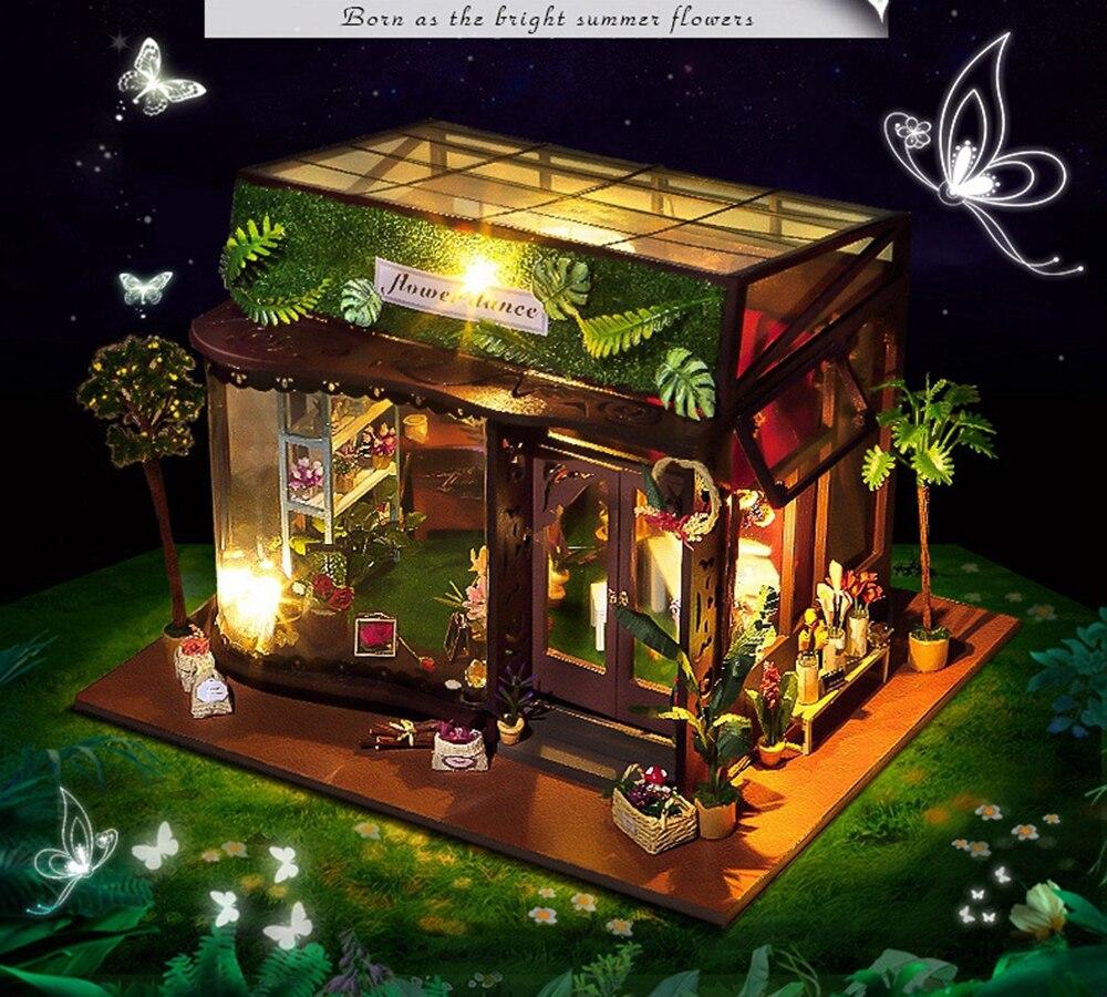 Mobili Casa di bambola Regali Fai Da Te In Miniatura Puzzle Modello Giocattolo di Legno Mini 3D Building Blocks Giocattoli Regali Di Compleanno Fiore Danza