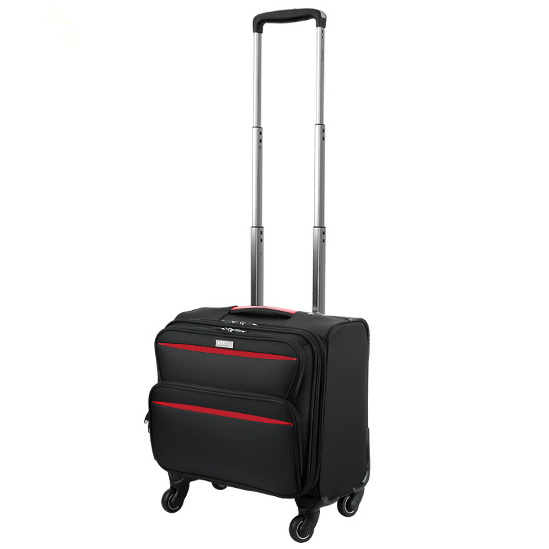 High quality 16 18inches waterproof nylon commercial trolley luggage bag on universal wheels,computer travel luggage