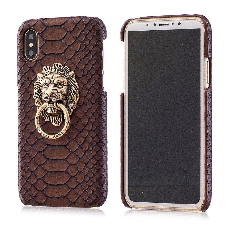 Для iPhone X Обложка Мода змеиной кожи Кожа Жесткий чехол для телефона 3D Лев Начальник Стенд Fundas для IPhone X случаях