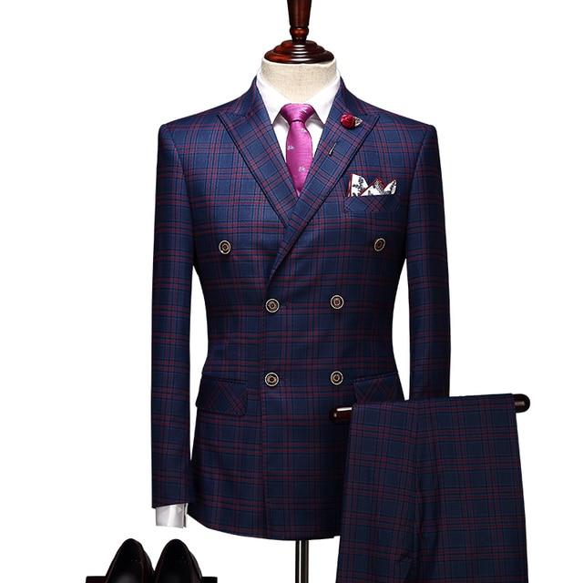 Café gris flaco Plaid trajes de boda para los hombres Terno Masculino  Casamento negocios 3 unidades a2976911a1e