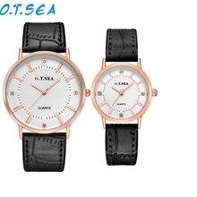 Reloj 2017 O. T. MAR Nuevo Diseño Caliente Venta 2 UNID Diamante de Lujo Reloj de Los Hombres de La Correa de la Señora Cuarzo pareja Relojes de Pulsera 17mar3