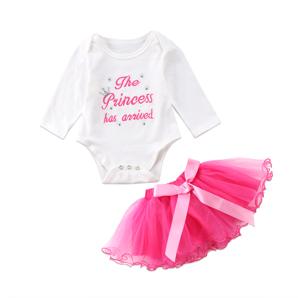 2pcs Princess Baby Girl Skirt Suit Kids Girls Clothes Newborn Letter Baby Romper Lace Tulle Ball Gown Skirts Bowknot Outfit Sets