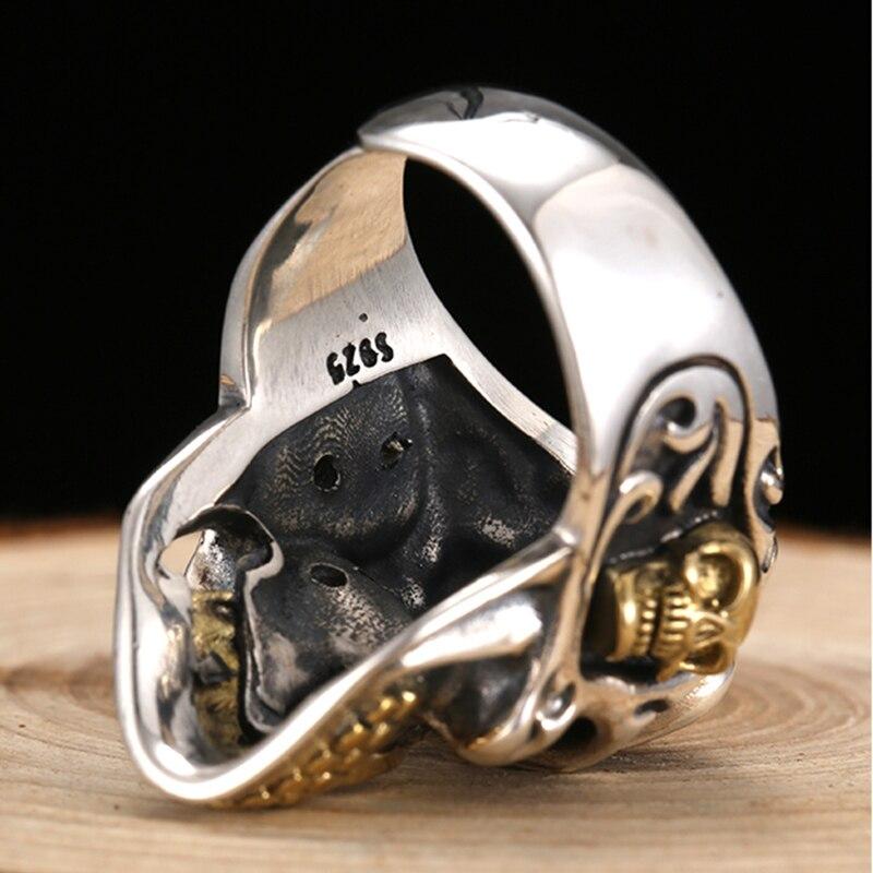 ZABRA 925 argent Sterling rouge zircon cubique yeux crâne anneau mâle or réglable anneaux pour hommes Punk gothique bijoux - 3