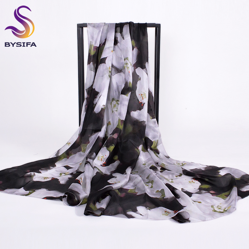 [BYSIFA] Black White Women Winter Long   Scarves     Wraps   2018 New Autumn Ultralong 100% Silk   Scarf   Shawl Elegant Floral Ladies   Scarf