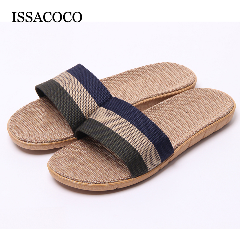 New Arrival Men's Summer Linen Silppers Breathable Non-slip Fashion Indoor Slippers Men's Hemp Basic Slides Slippers Hot coolsa women s summer striped linen slippers women hemp slides women s flax slippers breathable non slip fashion indoor slippers