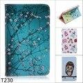 Мода Мультфильм цветок дерево абстрактная живопись Бумажник PU Кожа Стенд Чехол Для Samsung Galaxy Tab 4 tab4 7.0 T230 T231