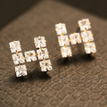 AGOOD 2017 gold CZ diamond rhinestone stud earrings for women fashion brief H letter earring wedding elegant jewelry accessories