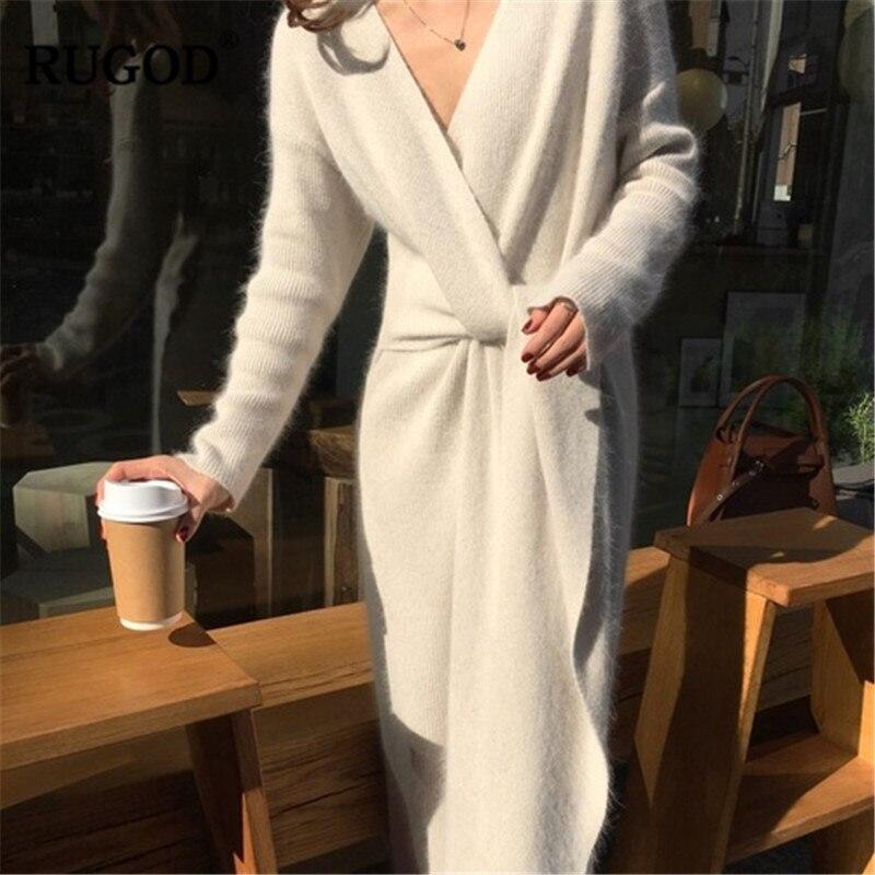 Image 2 - RUGOD New Korean Belted Long Sweater Dress Women Solid Casual Soft Warm Cashmere Dress Female Elegant V Neck Long Sleeve Vestido-in Dresses from Women's Clothing