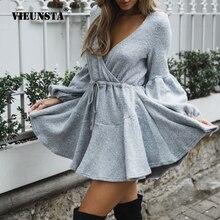 VIEUNSTA New Women V Neck Ruffle Knitted Sweater Dress Autumn Winter Lace Up Short Dresses Casual Long Sleeve Solid A-Line Dress недорого
