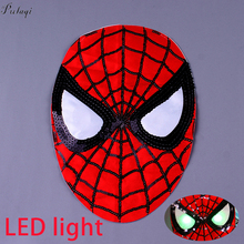 Pulaqi DIY Spiderman Stripe Rock Patch LED Light Sequins Punk Patches On Clothes Sewing On Embroidered Patches For Clothing F sequins patches avengers led light patch embroidered patches for clothes diy sewing on patches for clothing applique stripe f