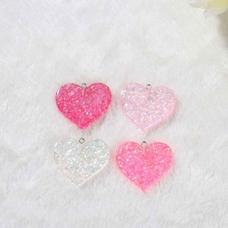 glitter heart and star charms  fashion Jewelry necklace pendant keychain charms for DIY decoration