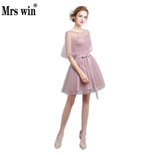47068c6971f Cameo Brown A Line Transparent Shoulder Cap Sleeve Bow Sash Short Draped  Bridesmaid Dress Short Lace Dress C68LF801A