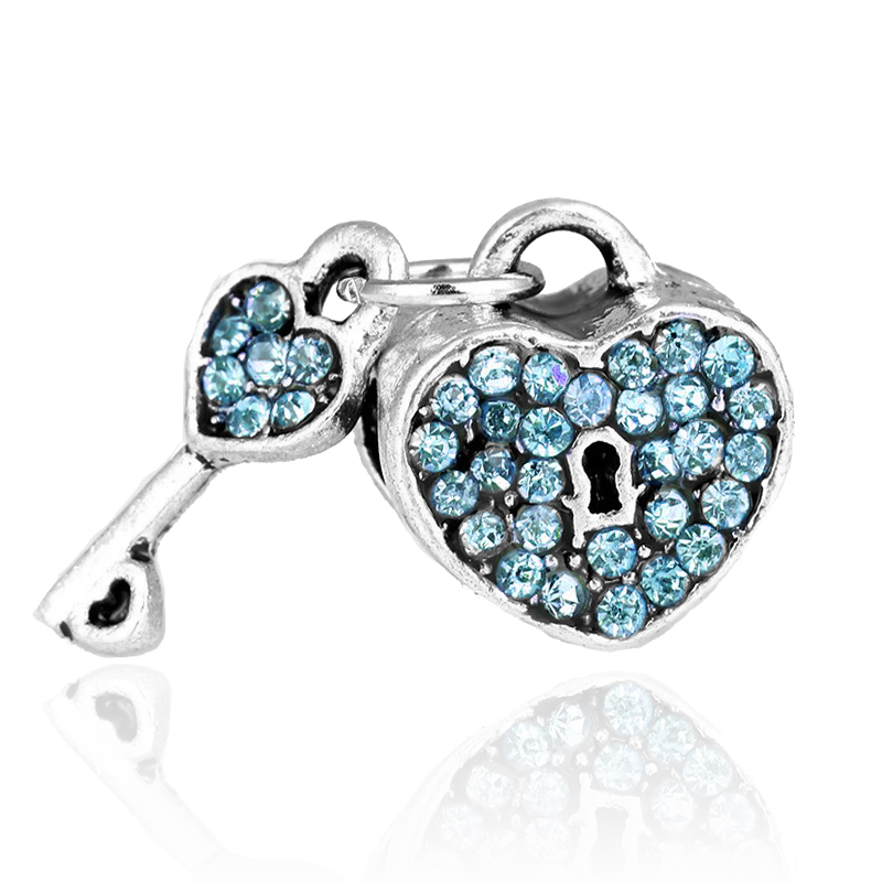 New Arrival Blue crystal Love Heart Lock with Key european charm bead fit Pandora charm Bracelets Free Shipping
