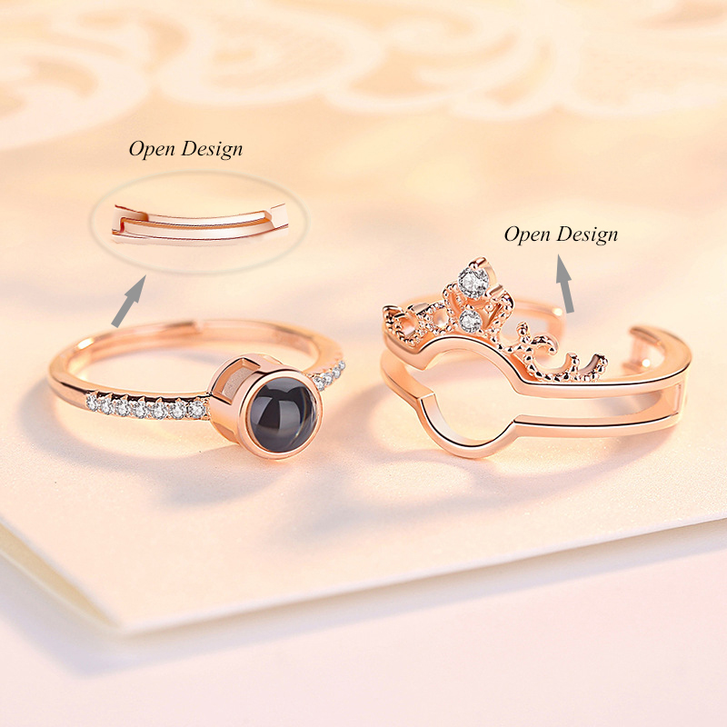 New 100 Languages I Love You Memory Crown Couple Rings