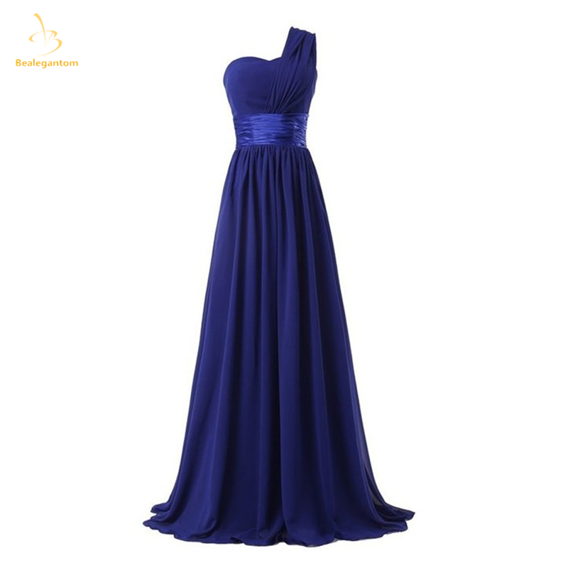 Bealegantom Long One Shoulder Chiffon   Prom     Dresses   2018 Formal Evening Party Gowns Robe De Soiree QA1507