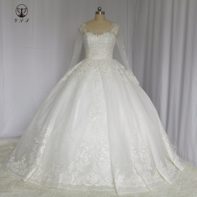Muslim Wedding Dresses O Neck Appliqued Beaded Lace Buttons Corset ...