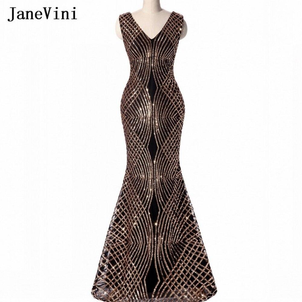 JaneVini luxe or paillettes longues robes de demoiselle d'honneur noir sirène BlingBling arabe dames robes formelles pour la fête de mariage 2018