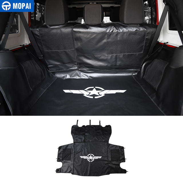 MOPAI Stowing Tidying for Jeep Wrangler JK 2007 Up Car Trunk Pet Seat Cover Mat Hammock for Jeep JK Wrangler Accessories 4 Door