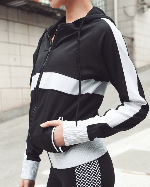 6bfb0cb4912b Professional sports Long-sleeved jacket zipper running fitness Stripe  mosaic Hoodie outdoor exercise clothes women Sweatshirts