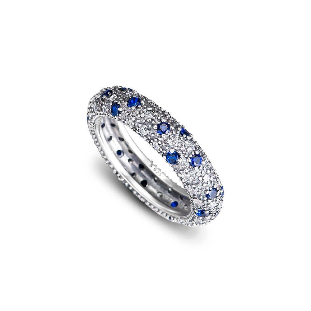 CKK แหวน Midnight Blue แหวนเงินผู้หญิงผู้ชาย Anel Feminino 100% 925 เครื่องประดับสเตอร์ลิงเงิน Anillos Mujer Hombre งานแต่งงาน