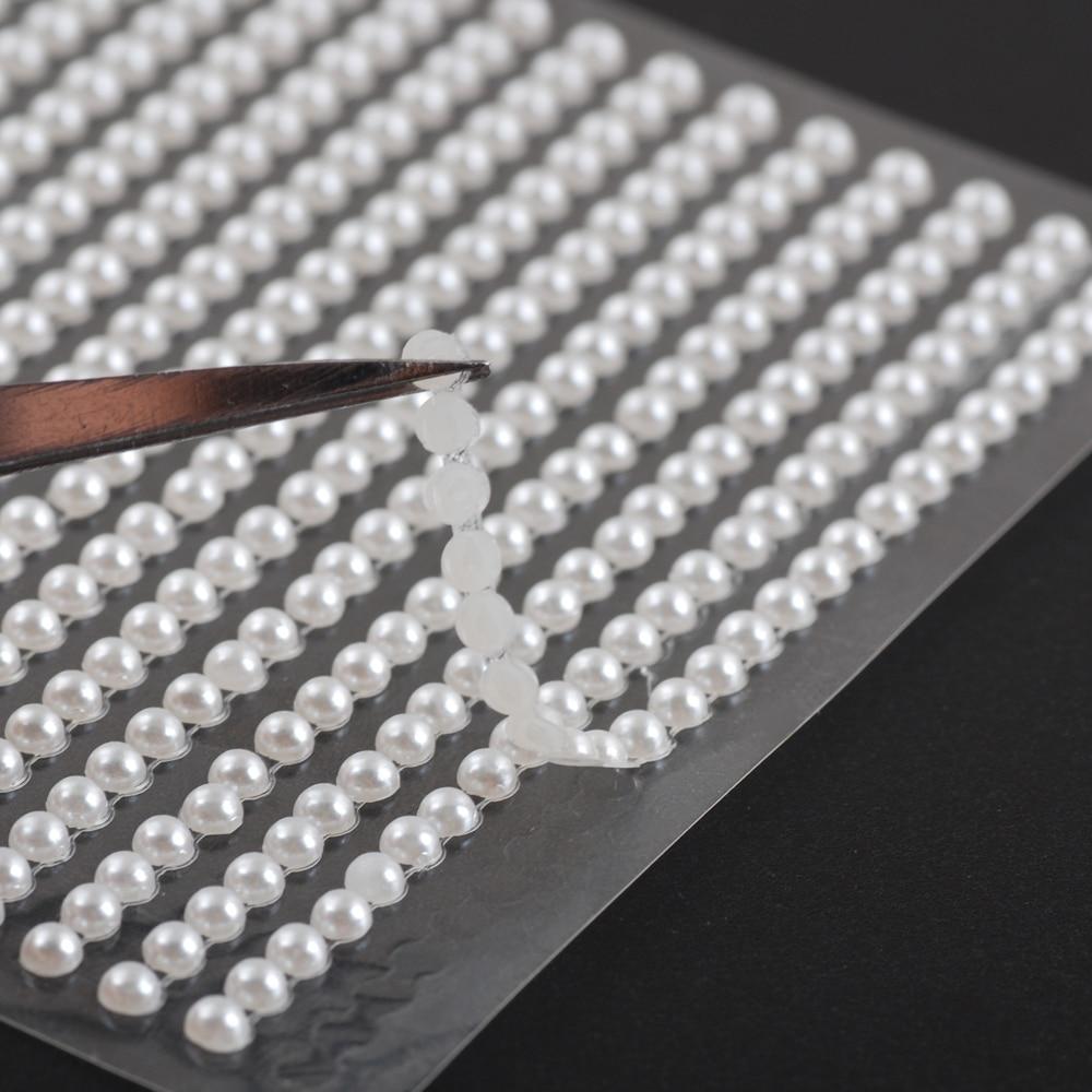 3/4/5/6mm  White Half the pearl sticker for DIY Dress decoration accessories handmade Creative sticker home decoration