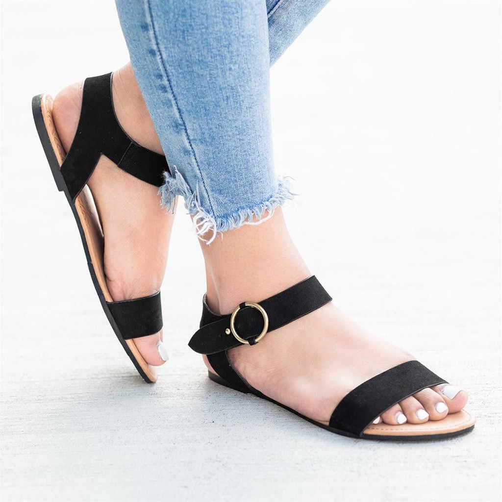 קיץ נשים של גבירותיי רומא שטוח מוצק ציוץ בוהן סנדלי דגי פה נעליים יומיומיות נשים חוף קיץ נעלי נשי zapatillas mujer