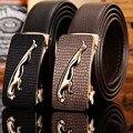 Big buckle jaguar mens belts luxury 2017 new hot designer strap high quality fiber leather crocodile 160 cm 150 140 automatic