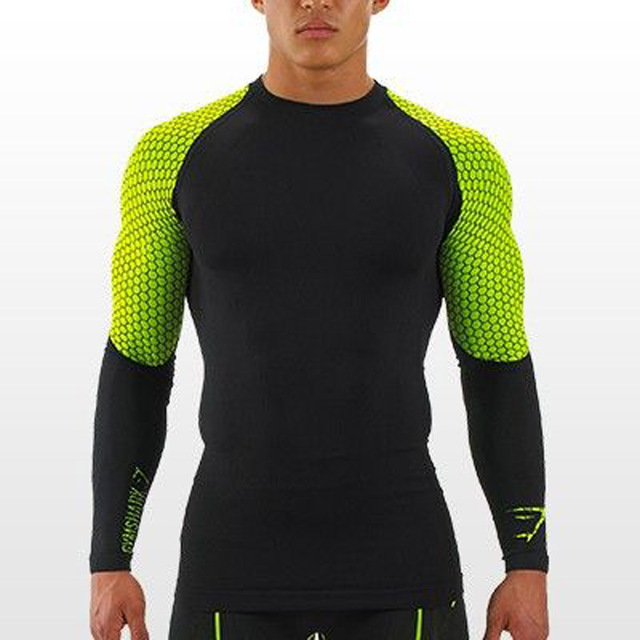 Men's Compression Tights T Shirt jogges Bicycle Fitness tees Long Sleeve Moisture Wicking Quick-drying T-shirt