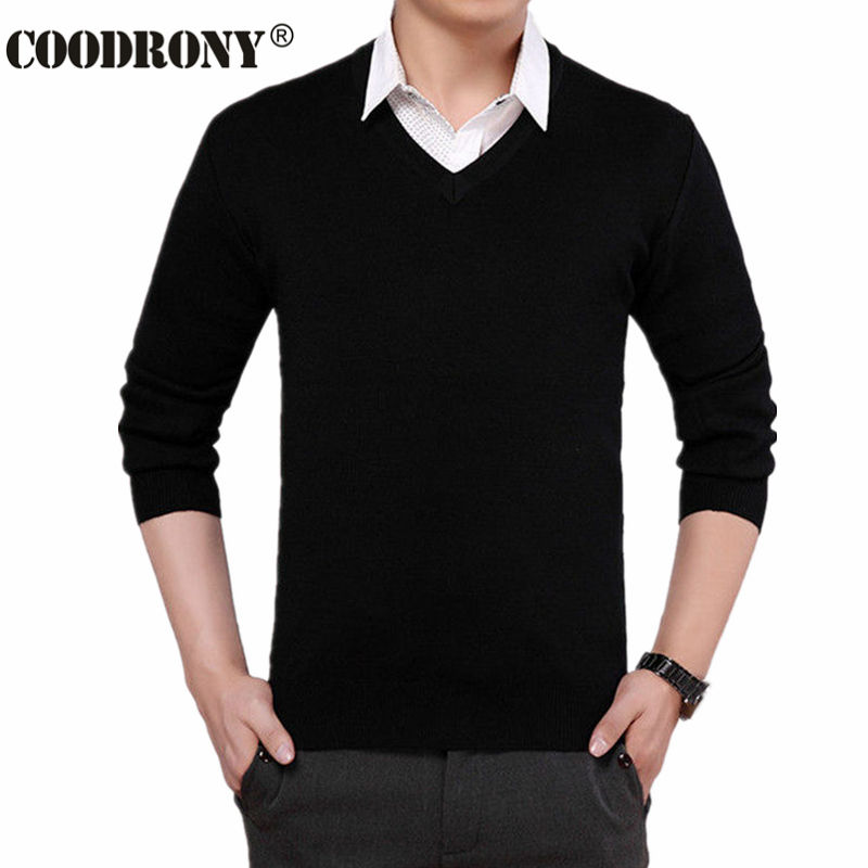 Solid Color Cashmere Sweater Men 2016 New Arrival V Neck Mens Sweaters Wool Casual Pullover Men