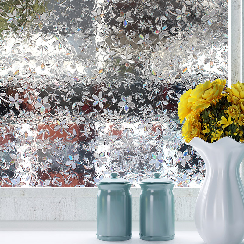 Non-adhesive Long-lasting Quick DIY Easily Remove Etched 3D Decoration Window Film for UV Rejection flower