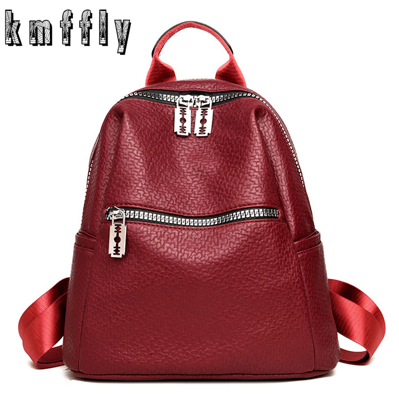 KMFFLY 2018 New High Quality PU Leather Women Backpack School Bags for Teenage Girls Sac A Dos Homme Casual Simple Backpacks цена