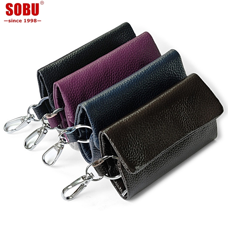 New Arrival Genuine Leather Key Holder Unisex Key Wallet Key Organizer Key Holder Car Housekeeper Wallet V048