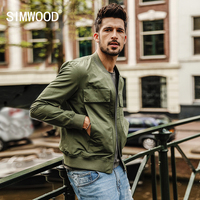 SIMWOOD 2017 Autumn New Baseball Collar Pockets Bomber Jacket Men Fashion Coats Male Outerwear Slim Fit