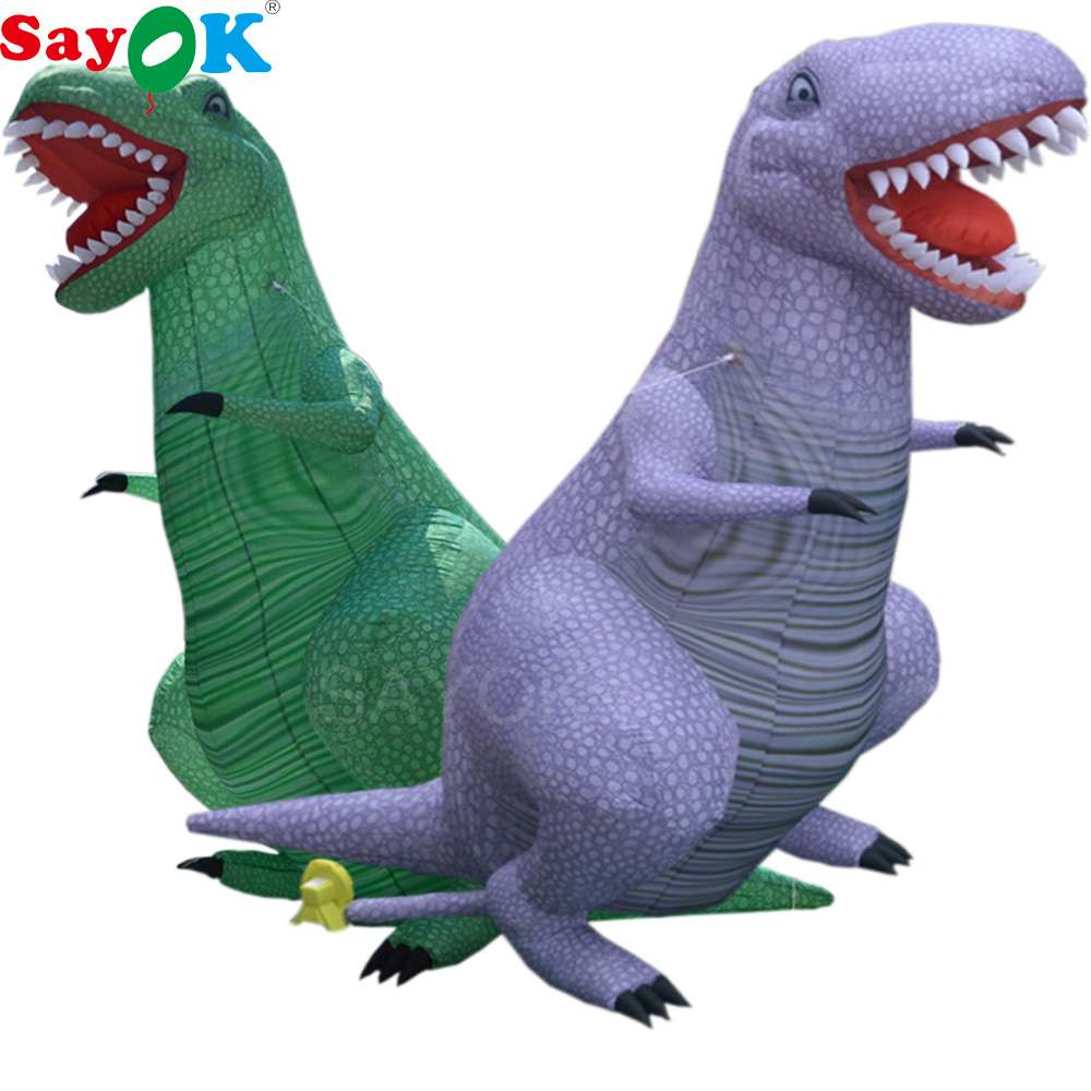 Sayok 3.5m/5m High Outdoor Giant Inflatable Dinosaur T Rex Cartoon Model for Festive Decoration Exhibition Advertising Promotion