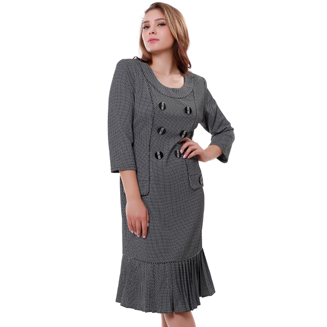Hot sale Women's dresses Autumn Casual Work dress Small Plaid Vintage Pleated Flounced hem Mid-Calf derss Plus size XL-6XL 99652