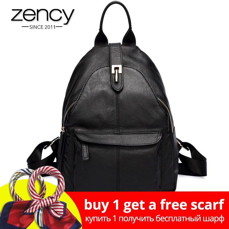 Zency Hot Sælger Kvinder Rygsæk 100% Ægte Læder Praktisk Lady Travel Bag Sko Bags Til Piger Daglig Casual Rygsæk Sort