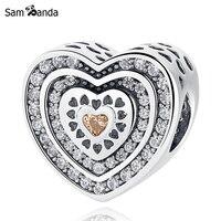 Authentic 925 Sterling Silver Bead Charme Pave Luxuoso Coração Com Cristal Beads Fit Mulheres Pulseira Pandora Pulseira DIY Jóias