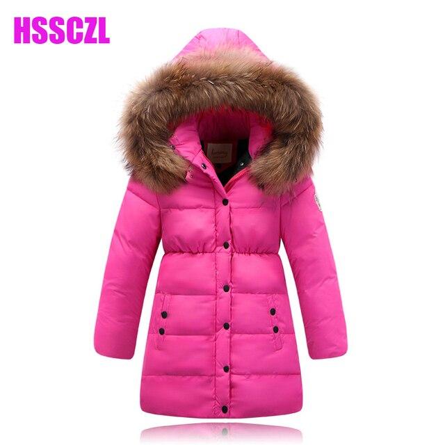 Новые девушки пуховик зимой утолщаются детская вниз пальто куртки для девочки большой меховой воротник длинные пальто теплый верхняя одежда куртка