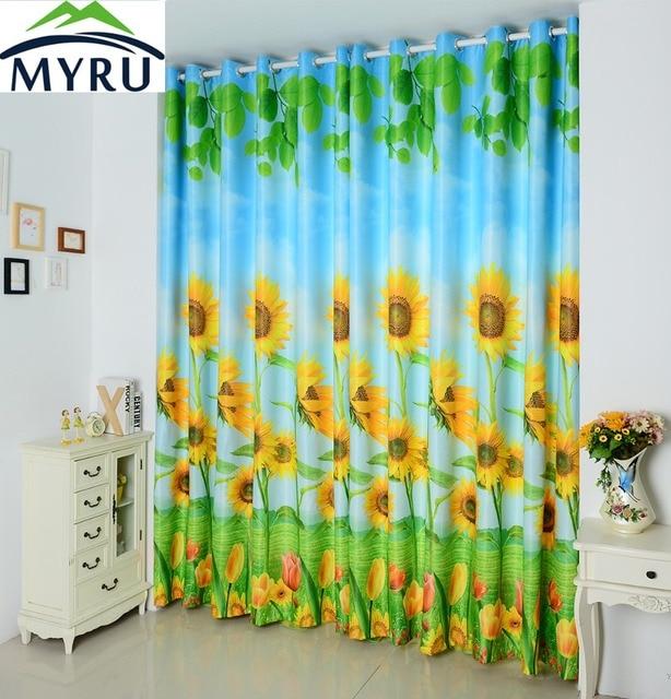 MYRU D Druck Sonnenblumen Verdunkelungsvorhang Benutzerdefinierte - Verdunkelungsvorhang schlafzimmer