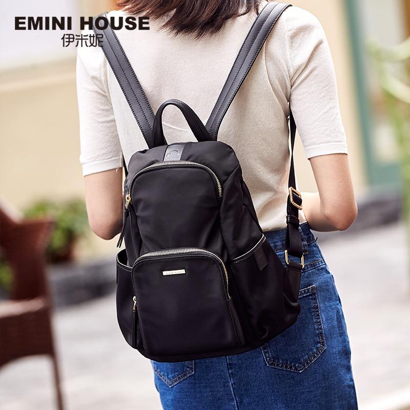 EMINI HOUSE Anti Theft Backpacks For Women Travel Waterproof Nylon Bag Backpack Female Zipper Design School Bag Back Pack backpack for girl 2016 popular design material is jeans zipper is nylon