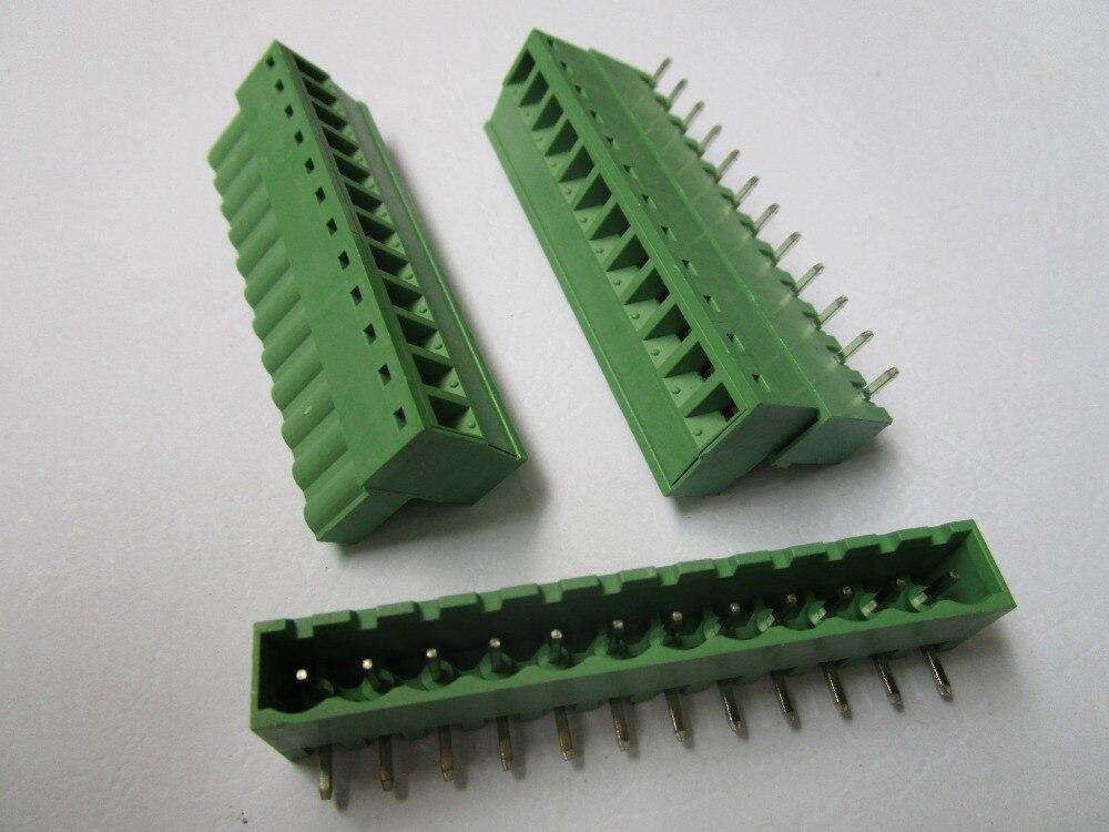 6 шт. острый угол 12 pin/шаг пути 5,08 мм винтовой клеммный блок соединитель зеленый цвет подключаемый тип с угловым контактом