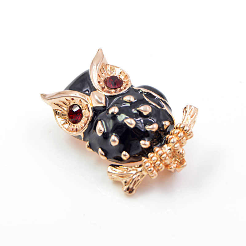 CINDY XIANG Black Enamel Owl Brooches for Women Red Eye Animal Brooch Pin Summer New Style Bird Fashion Jewelry High Quality