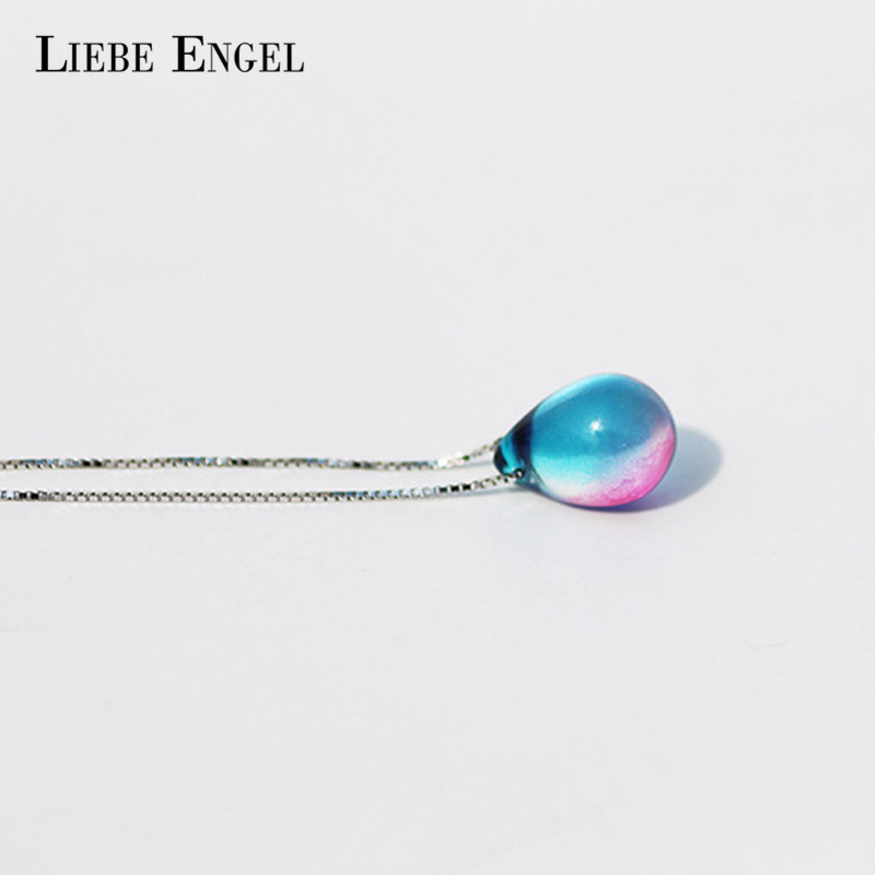 LIEBE ENGEL 2018 Fashion Choker Necklace Beach Ocean Sea Necklace Mermaid Tears Sand Pendant Necklace Colorful Jewelry For Women