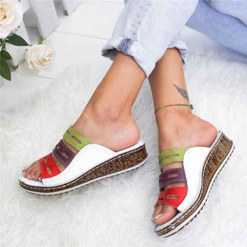 Oeak Drop Shipping ผู้หญิงฤดูร้อนเย็บรองเท้าแตะรองเท้าแตะเปิดนิ้วเท้ารองเท้าแพลตฟอร์ม WEDGE ภาพนิ่งชายหาดรองเท้าผู้หญิง