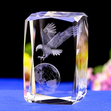 3D LASER ENGRAVED CRYSTAL Gifts  Eagle earth Shape crystal Night Light with Color Changing Light  base