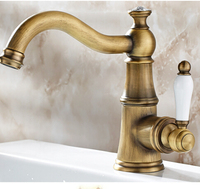Free Shipping Solid Brass Bathroom Sink Basin Faucet Antique Brass Ceramics Handle Retro Style Mixer Tap Deck Mounted Water Tap