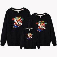 Brand Children Pure Cotton Hoodie Coat Baby Boys Cartoon Super Mario Outerwear Winter Warm Jacket Family