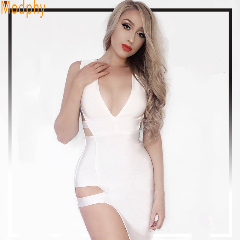 2017 new women sexy side split bodycon bandage dress hollow out red white black evening party