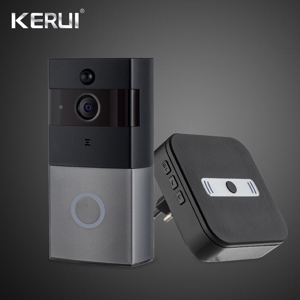 KERUI 1080P インターホンビデオドアベルワイヤレスセキュリティカメラ双方向トークナイトバージョンリアルタイムドアベル以内 TF カード  グループ上の セキュリティ & プロテクション からの 警報システムキット の中 1