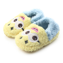 Newborn Baby Shoes Boys Infants Slippers Slip-on Plush Minions First Walkers Toddler Girls Shoes Winter Warm Home Wear for Kids